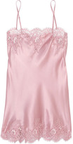 I.D. Sarrieri Tendresse Chantilly Lace-trimmed Silk-blend Satin Chemise - Pastel pink