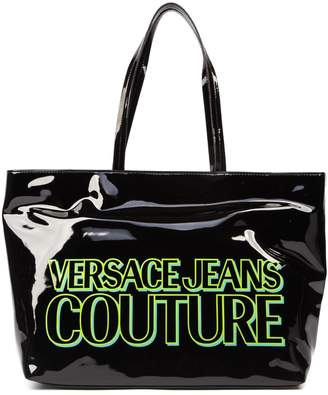 Versace Black Patent Tote With Logo