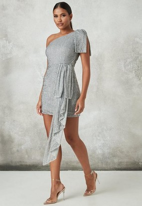 Missguided Silver Embellished Drape Mini Dress