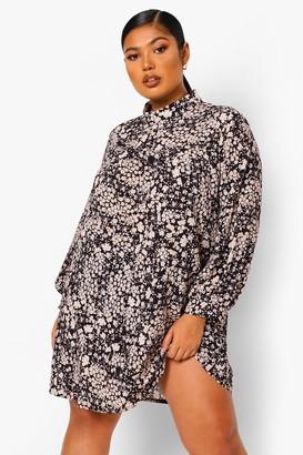 boohoo Floral Print Smock Dress