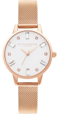 Olivia Burton Women's Rose Gold-Tone Stainless Steel Mesh Bracelet Watch 30mm