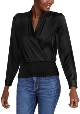 INC International Concepts Inc Smocked Satin Surplice Top, Created for Macy's