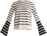 Paisie Striped Top With Contrasting Flared Cuff In Black & White