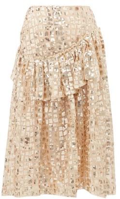 Simone Rocha Sequinned Ruffled Tulle Midi Skirt - Gold