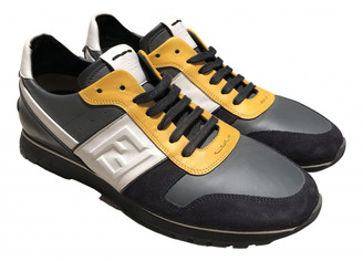 Fendi Grey Leather Trainers