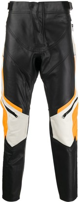 Diesel Colour-Block Leather Trousers