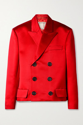Meryll Rogge - Oversized Double-breasted Silk-satin Twill Blazer - Red