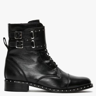 Daniel Storis Black Leather Studded Ankle Boots