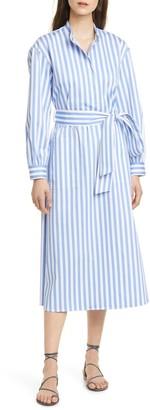 Club Monaco Half Placket Long Sleeve Stripe Midi Dress