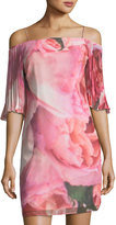 Phoebe Couture Cold-Shoulder Watercolor-Print Dress