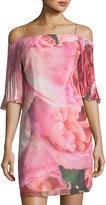 Phoebe Couture Cold-Shoulder Watercolor-Print Dress