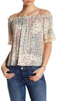 Hip Pleated Off-the-Shoulder Blouse