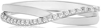 Love Gold 9ct White Gold Cubic Zirconia Crossover Ring