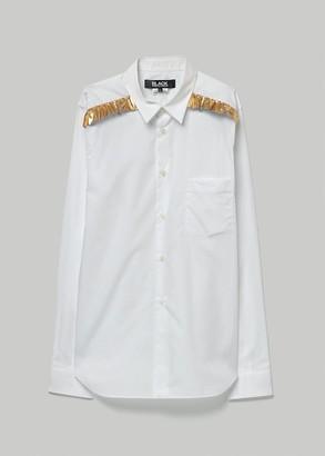 Comme des Garcons BLACK Men's Cotton/Taffeta Ruffle Shirt in White/Gold Size Medium
