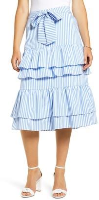 Rachel Parcell Stripe Stretch Cotton Tier Skirt