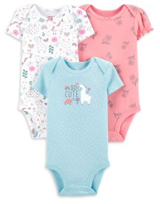 Child of Mine by Carter's Baby Girl Short Sleeve Bodysuits, 3-Pack