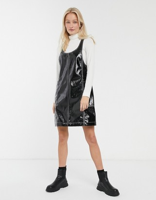 Monki patent sleeveless mini shift dress in black