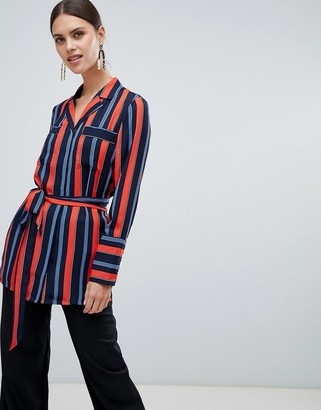 Y.A.S Sastribe Stripe Rever Collar Shirt-Red