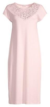 Hanro Najuma Lace-Trimmed Mercerized Cotton Gown