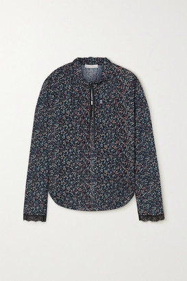 See by Chloe Tie-neck Lace-trimmed Floral-print Georgette Blouse - Blue