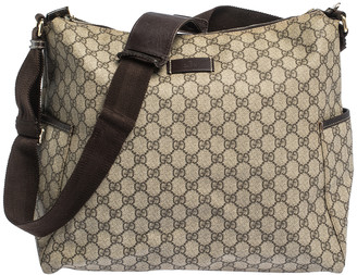 Gucci Beige GG Supreme Canvas and Leather Baby Diaper Bag