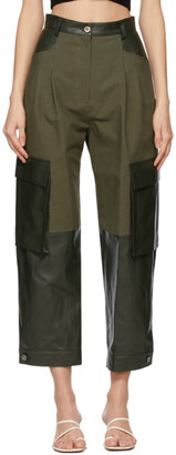 DRAE Khaki Faux-Leather Paneled Trousers