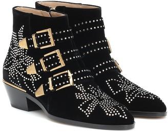 Chloé Susanna embellished velvet ankle boots
