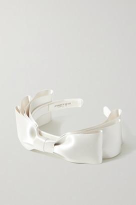 Jennifer Behr Katya Bow-embellished Satin Headband - Ivory