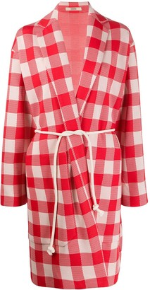 Odeeh Check-Print Tie-Waist Coat