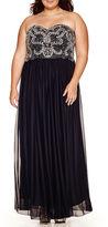 My Michelle Strapless Beaded Dress - Juniors Plus