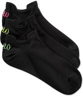 Polo Ralph Lauren Women's Microfiber Double Tab Ankle Socks 3 Pack