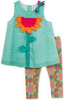 Rare Editions 2-Pc. Flower Tunic & Leggings Set, Baby Girls (0-24 months)
