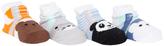 Cutie Pie Baby Brown Bear & Black Panda Four-Pair Socks Set