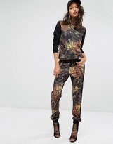 Versace Animal Print Trackpant with Waffle Panel