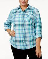 Karen Scott Plus Size Cotton Plaid Shirt, Only at Macy's