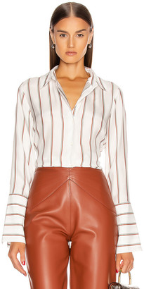 Frame Long Cuff PJ Blouse in Off White Multi | FWRD