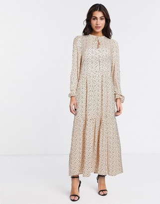 Vila boho midi smock dress in cream print