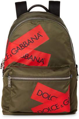 Dolce & Gabbana Olive & Red Logo Tape Nylon Backpack
