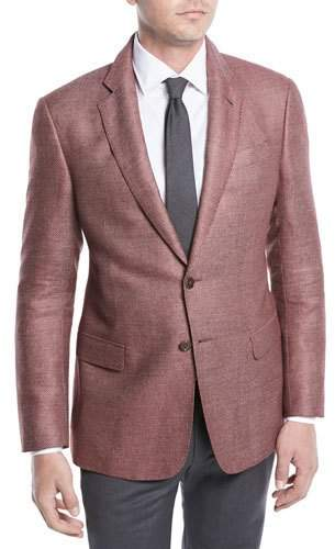 Giorgio Armani Two-Button Silk-Linen Hopsack Jacket