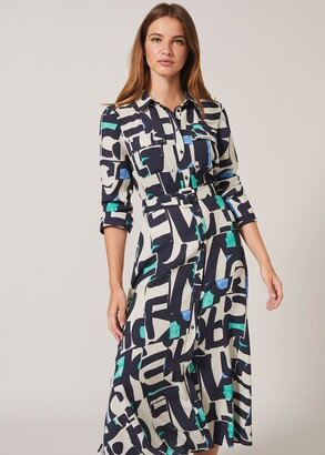 Phase Eight Lakely Abstract Print Shirt Dress