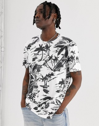 AllSaints t-shirt with monochrome tropical print-White