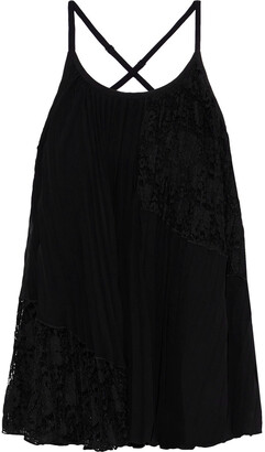 Derek Lam 10 Crosby Pleated Lace-paneled Chiffon Camisole