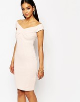 Lipsy Off Shoulder Textured Body-Conscious Dress