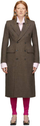 Balenciaga Brown Hourglass Double-Breasted Coat