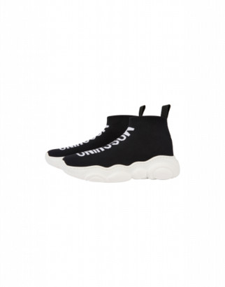 Moschino Sock Sneakers Teddy Shoes With Maxi Logo Unisex Black Size 27 It - (9.5k/10k Us)