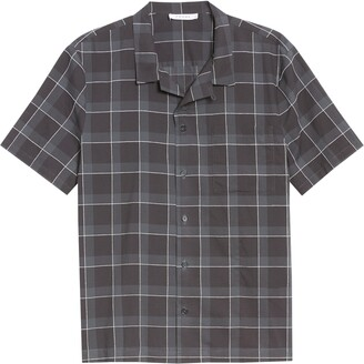 Frame Regular Fit Plaid Short Sleeve Button-Up Shirt