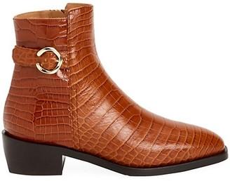 Aquatalia Fara Croc-Embossed Leather Ankle Boots