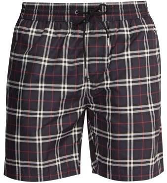 Burberry Check Print Swim Shorts - Mens - Navy Multi