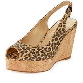 Stuart Weitzman Jean Leopard-Print Slingback Wedge Sandal, Caramel