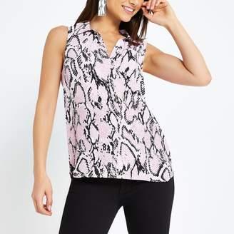 River Island Womens Petite Pink snake print blouse